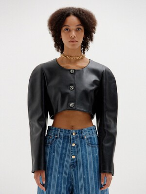 SYLVIE Leather Cropped Jacket - Black