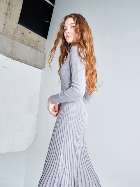 [단독] Flared rib knit dress #Grey
