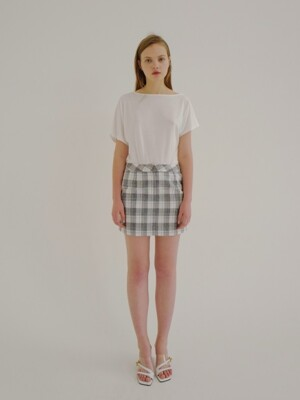 18ss check mini pocket skirt grey