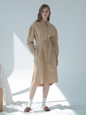 Belt Shirt Dress Beige