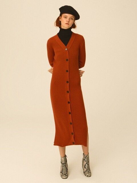 Long Ribbed Cardigan Dress, Persimmon