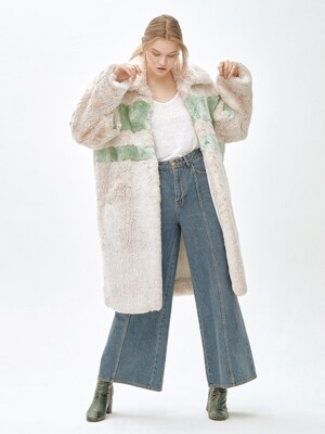 ANGIE stripie point long coat [GREEN]