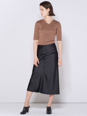 SATIN FLARE SKIRT BLACK