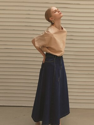 DENIM COVER WRAP LONG SKIRT
