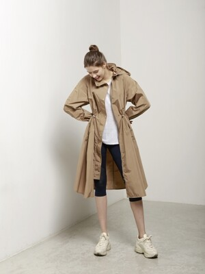 Hooded Flare Trench Coat - Carmel