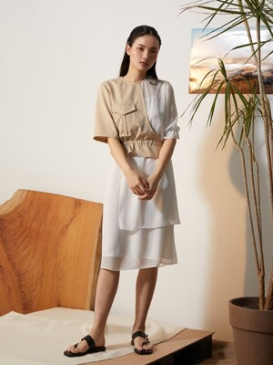Beige Safari Unbalance Dress