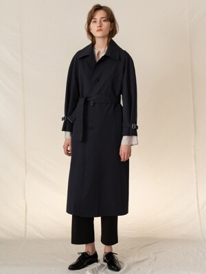 FW19 Cottonblended single trench coat darknavy
