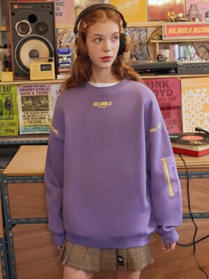(TS-19521) SLEEVE POCKET SWEATSHIRT LAVENDER