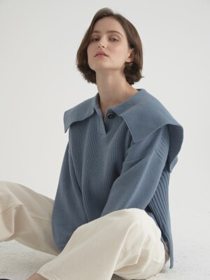 Cashmere blended sailor pullover - Smalt blue