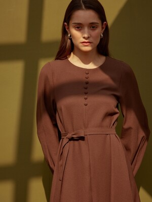 [By Joorti] J277 Bean button onepiece (brown)