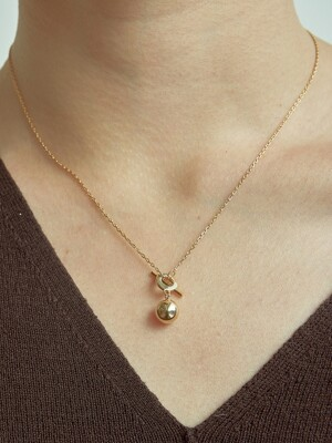 mini ball necklace-gold