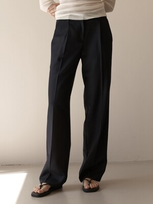Basic Wool Slacks (Black,Navy)