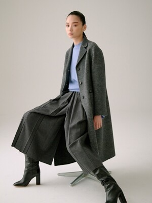 CHARCOAL GREY REVERSIBLE CASHMERE BLEND COAT