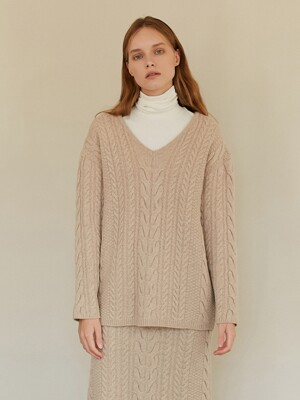 A TWO WAY CABLE KNIT TOP_BEIGE