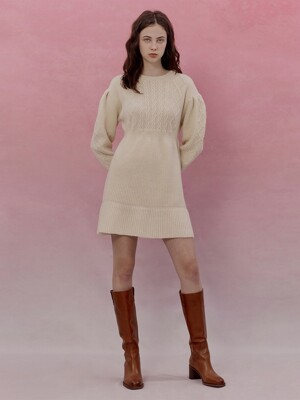 A CABLE TIE KNIT DR_IVORY