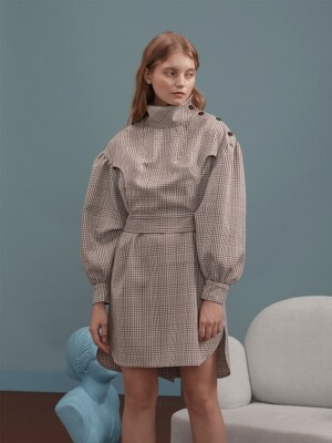 Brown Check Shirt Dress with Button Details