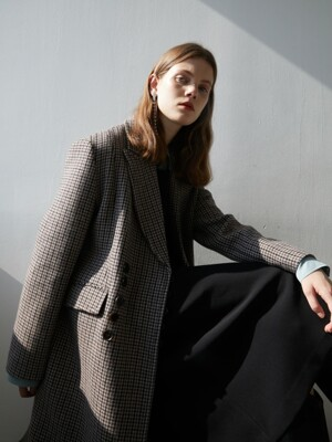 19' WINTER_BROWNIE HOUNDSTOOTH PEAKED COLLER COAT