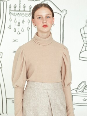 Puff Sleeve Top _ Beige
