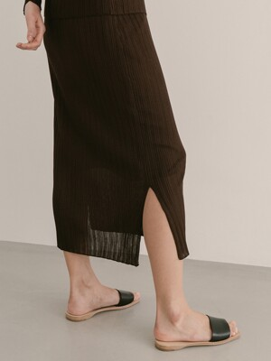 DARK BROWN VISCOSE VISICOSE KNIT SKIRT