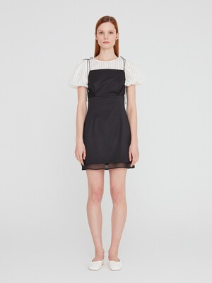 20SS MINI DRESS WITH SPAGHETTI STRAPS - BLACK