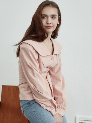 iuw636 belted cotton blouse (pink)