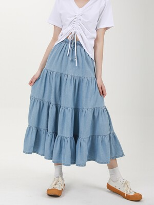 FOUR HEM LONG-SKIRT C518SK002-LB