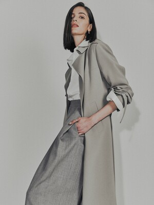 [Drama Signature] Belted Straight Trench_KHAKI GREY