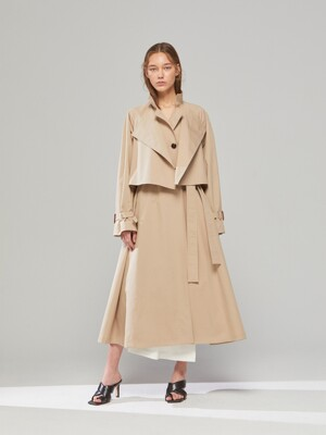 DEMERE LAYER NECK RAGLAN TRENCH COAT(3COLOR)