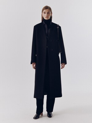 COLLARLESS WOOL LONG COAT BLACK_UDCO0F211BK