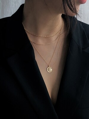 14k gold silken layered necklace (14k 골드)