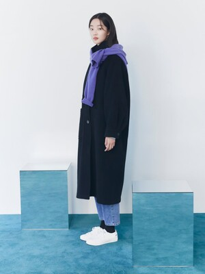 Volume Sleeve High Neck Long Coat - Black (KE0X30M045)
