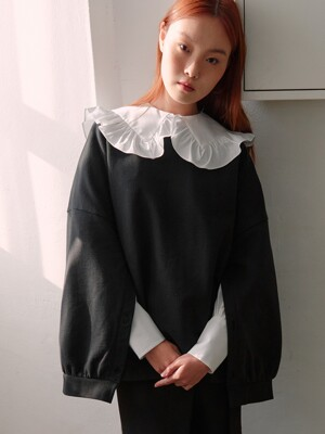 Elodie Buttonup Cape Sweatshirt (Black)