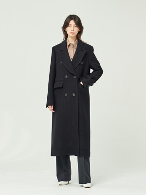 BLACK VIRGIN WOOL DOUBLE BREASTED COAT (JTJC101)