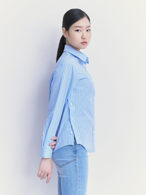 Essential Side Button Shirts  Sky Blue (KE1260M04Q)