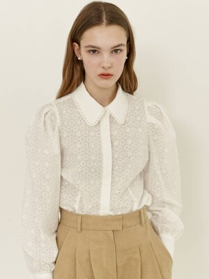 SARABONG Puffed long sleeve eyelet blouse (White)