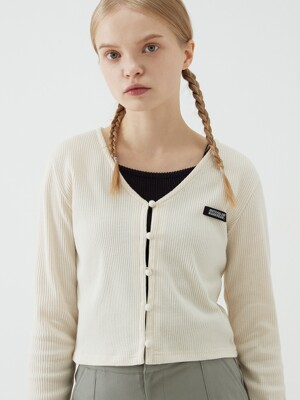 BEAN BUTTON CROP CARDIGAN (IVORY)