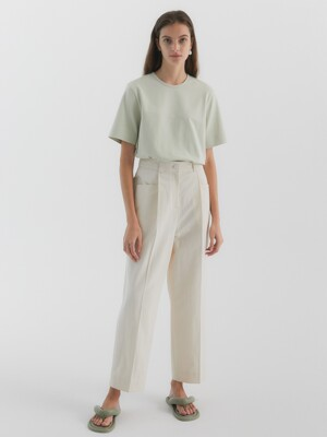Sage Cotton Wide Pants_White