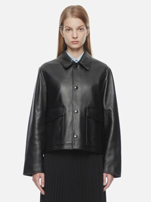 Lamb Skin Leather Jacket(black)