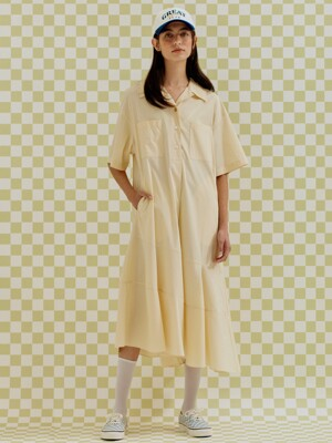 OPEN COLLAR FLARED DRESS LIGHT YELLOW (AEDR1E008Y1)