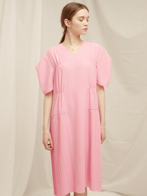 V-Neck Pleated Ops - Pink