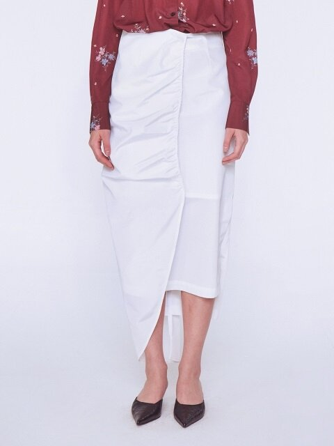 Romantic Shirring Skirt [WHITE]