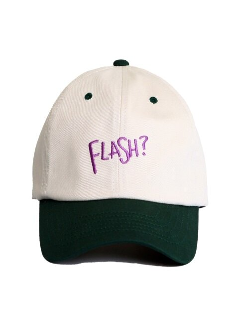 [unisex]FLASH? IVORY/GREEN BALL CAP