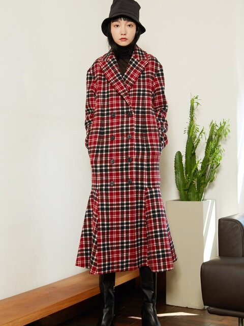 Mermaid Red Check Coat(TDFLC16)