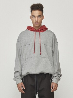 Oversized Contrast Hoodie Grey & Red