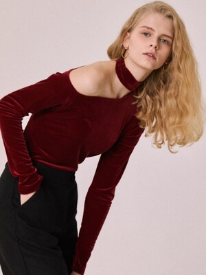 VELVET CHOKER TOP(WINE)