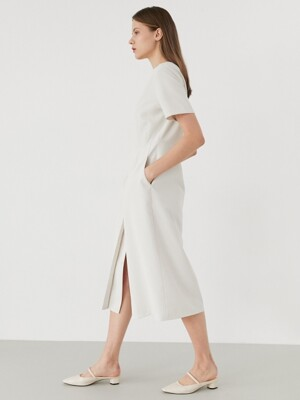 button slit dress-ivory