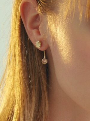 OVAL MULTI STONE `drop` E (GOLD)