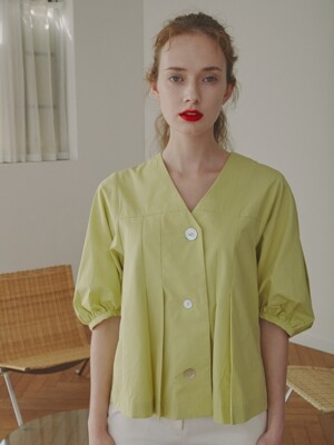 Isabelle Pleated Button Blouse_Lemon
