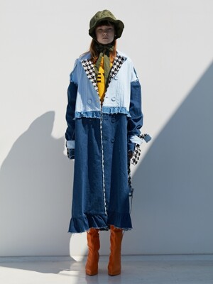 FRILL TRENCH_DENIM
