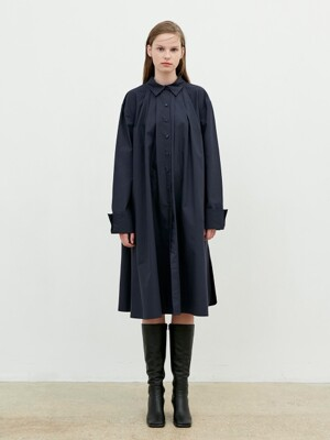Shirring Shirt Dress [Navy]